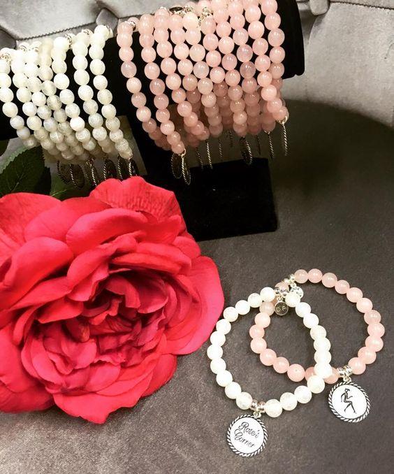 Rose's Corner Bracelets by Douglas Paquette  #douglaspaquetteaccessories #rosescorner #rosequartz #whiteagate #stackable #bracelets