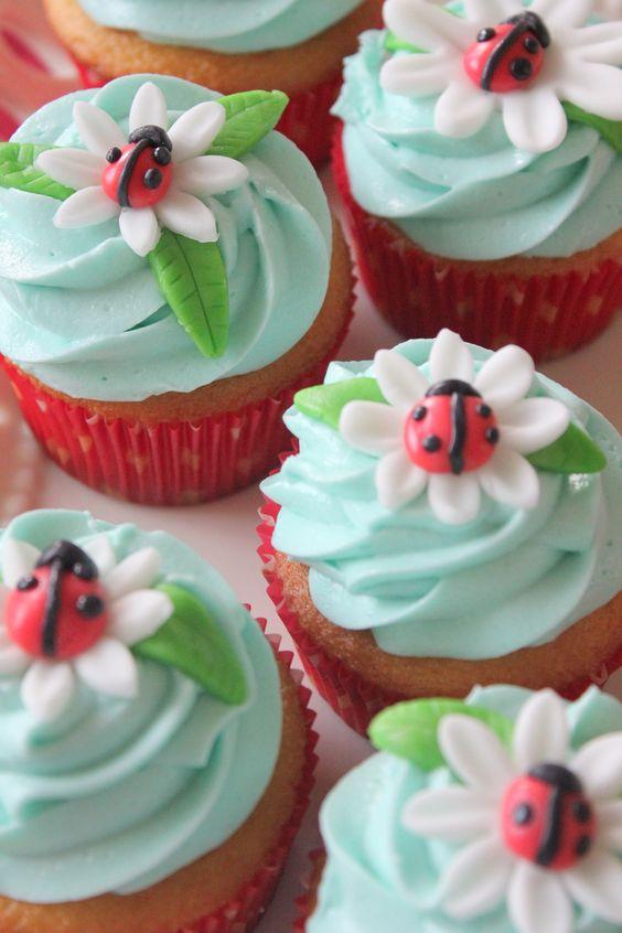 Ladybug cupcakes.: