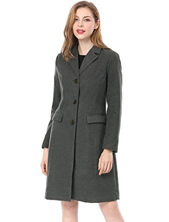 Allegra K Women's Notched Lapel Button Closure Worsted Long Coat XS Grey