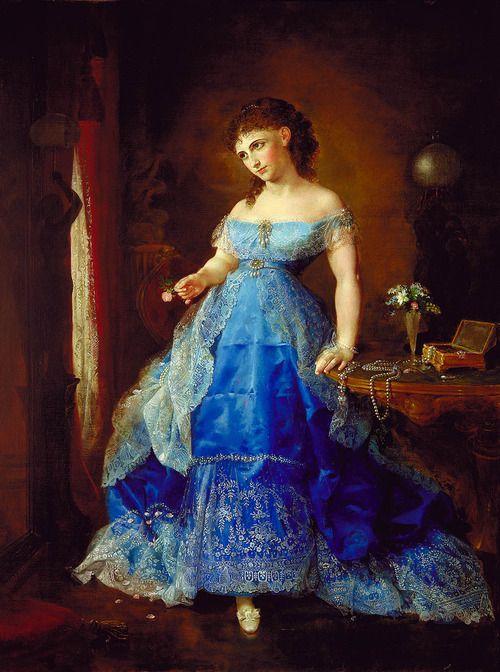 lady in a blue dress:
