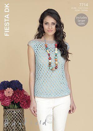Sirdar HAYFIELD Fiesta DK Summer Top Crochet Pattern 7714