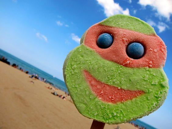 Teenage Mutant Ninja Turtle ice cream bars tastes like crap... But who cares cause they were totally tubular DUDE!