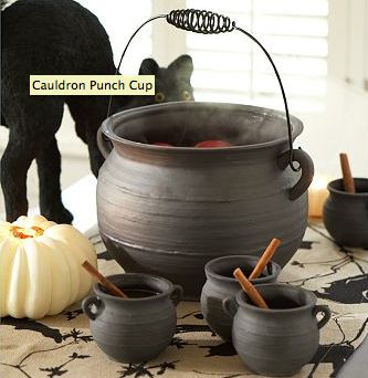 """Stoneware cauldron and cups. I have a deep love for all things """"traditionally"""" witchy -- pointy hats, cauldrons, cats, the whole kit. Old school witch depictions are the """"crazy cat lady"""" of yesteryear and I embrace them with reckless abandon."""