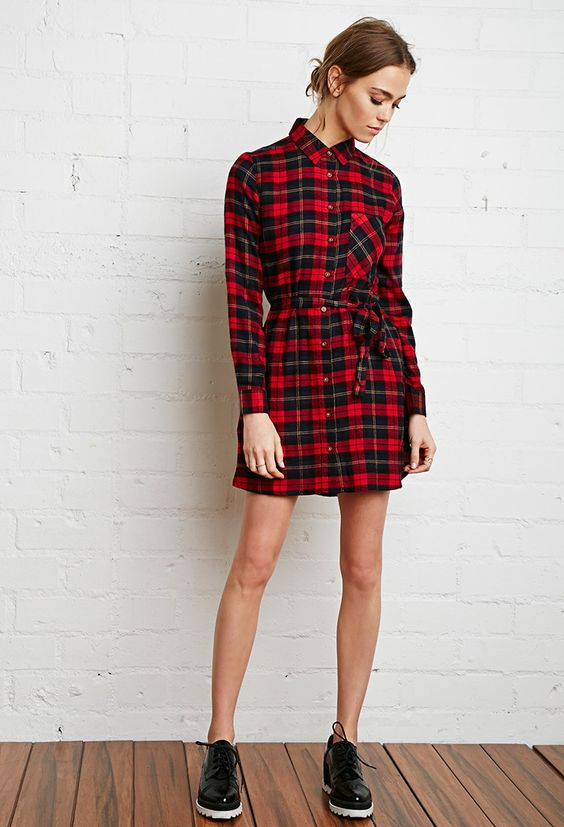 Plaid Flannel Shirt Dress in red/navy   Forever 21   A button-down shirt dress crafted from plaid flannel with a self-tie belt, button-cuff long sleeves, and on-seam side pockets.