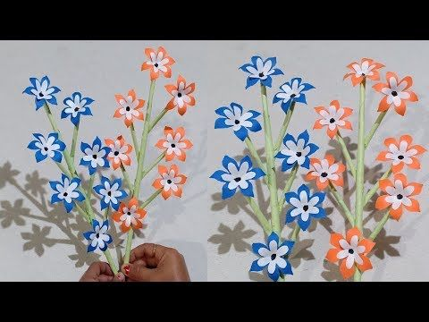 How To Make Beautiful Paper Stick Flower Decor Craft Ideas Handcraft For Home Creative Art Youtube Creative Art Flower Creation Flower Decorations