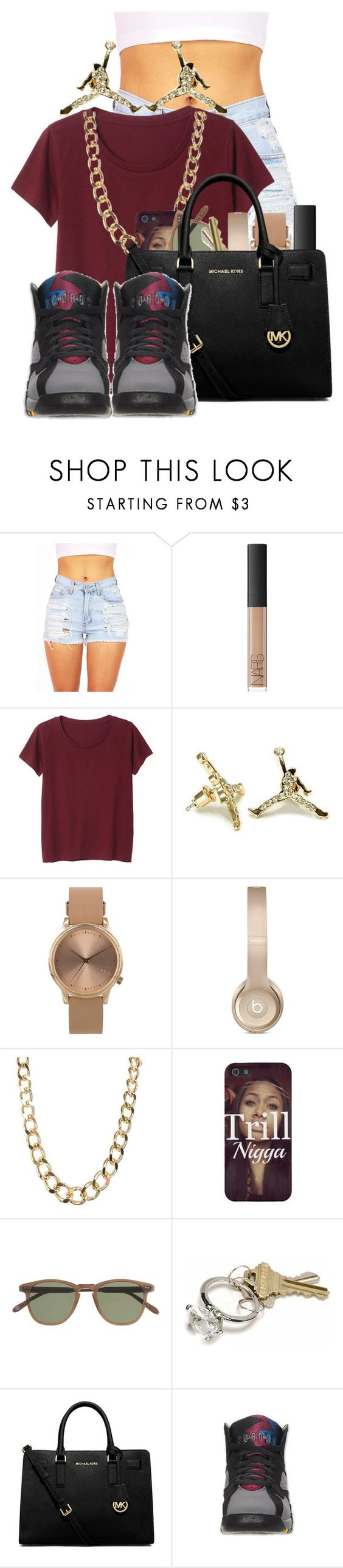 """""""Bad- Wale Ft.Tiara Thomas"""" by pinkswagg15 ❤ liked on Polyvore featuring NARS Cosmetics, Monki, Topshop, J.Crew, MICHAEL Michael Kors and Retrò"""