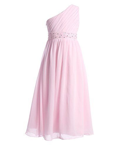 Fairy Couple Girl's One Shoulder Chiffon Beaded Pageant D...