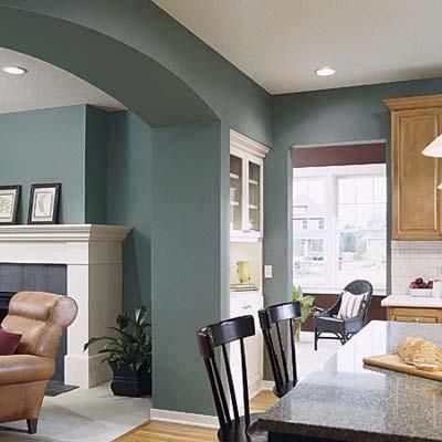 Teal color in dining room