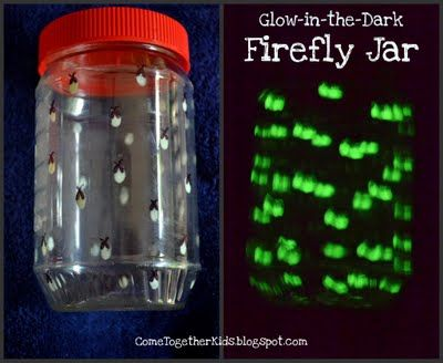 Make your own firefly jar for Daisy camping trip.  Use glow in the dark paint, plastic jar and black sharpie.  Add paint to inside of jar with paintbrush, add wings and antenae with sharpie.