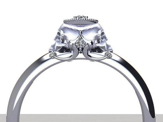 Rose Gold Engagement Rings Skull 3