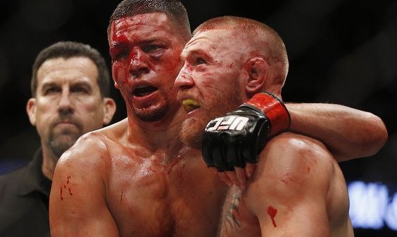 Nate Diaz and Conor McGregor after UFC 202. One won by judges majority decision and the other won by HIMSELF. #theNateDiazshow #UFC202 @natediaz_209