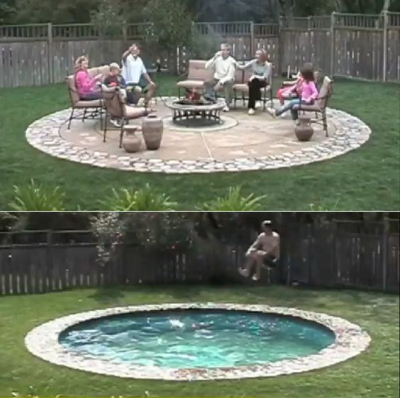 "Patio that converts to a pool. Or a pool that converts to a patio. Same diff. The ""floor"" goes down to be a pool, rises when you want a patio. Conversion takes minutes. Redonkulous."