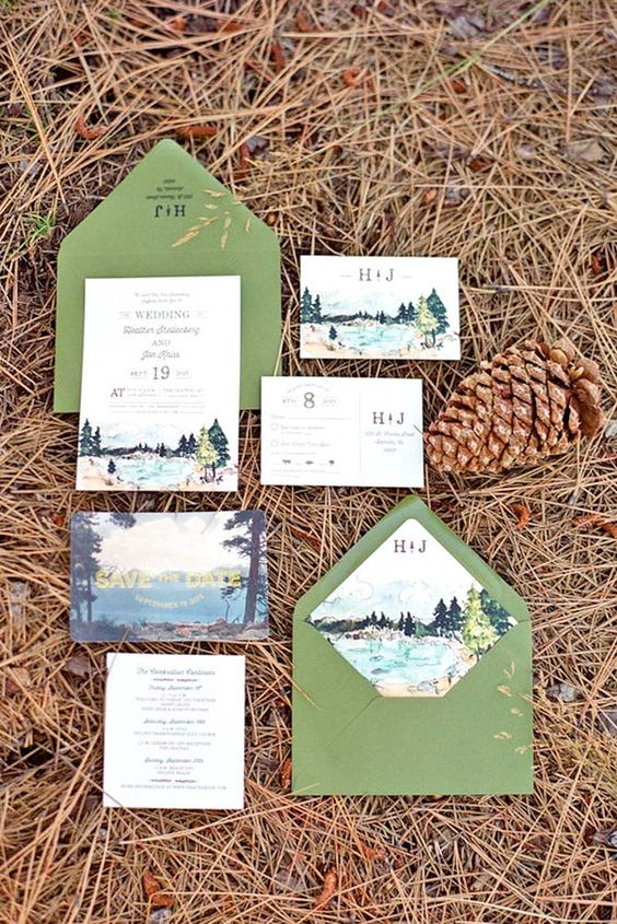 Fall Wedding Invitations With Brilliant Colors Of Autumn ❤ See more…