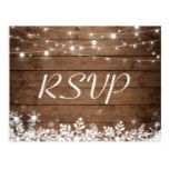Rustic Wood String Lights Snowflakes Wedding RSVP Postcard  Rustic Wood String Lights Snowflakes Wedding RSVP Postcard  $1.00  by CardHunter   More Designs http://bit.ly/2g4mwV2 #zazzle