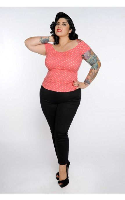 pinup girl clothing- marilyn top in coral with white dots - plus