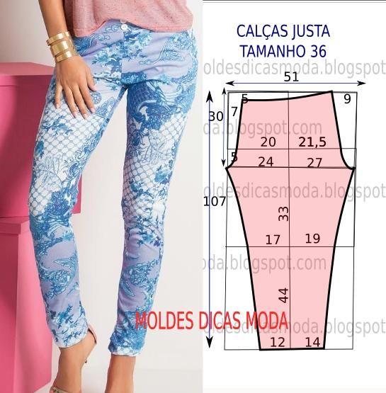 O molde da calça justa fácil não tem valor de costura tem que ser acrescentado. Este molde de calça favorece todo o tipo de corpos.:
