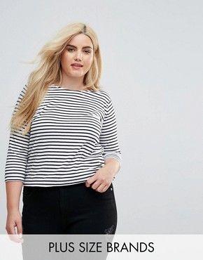 ASOS CURVE New Look Curve Stripe Long Sleeved Tee