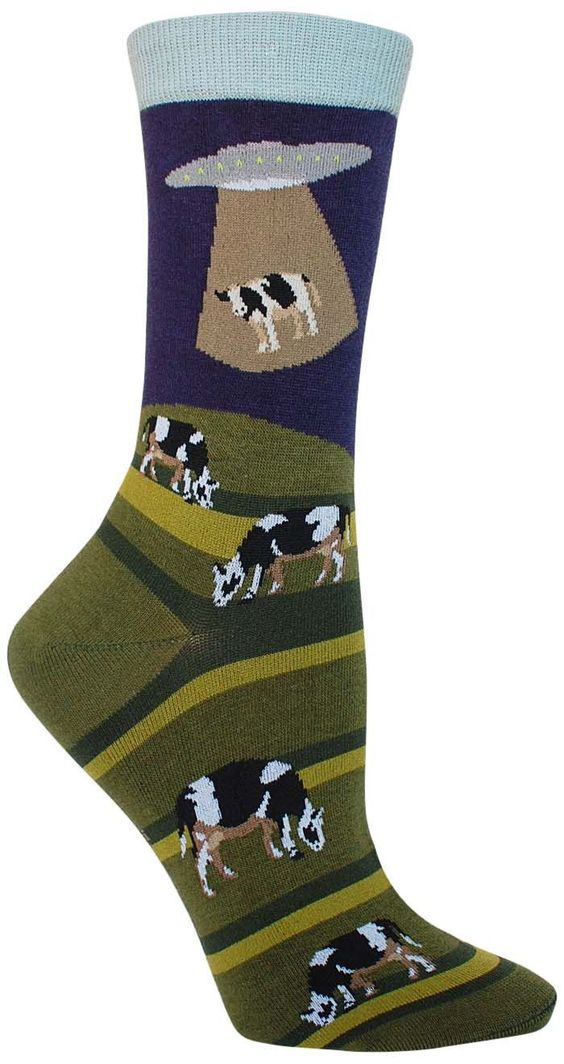 We wish these crazy aliens would start abducting something other than cows first… we would love to have a juicy steak for our last meal on Earth. In this pair of awesome extraterrestrial socks, even i