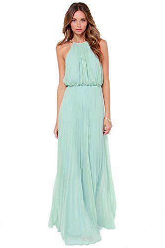 Shein Women&-39-s Mint Halter Sleeveless Pleated Maxi Dress(L ...