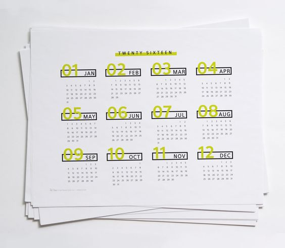 FREE printable 2016 Year at a Glance Calendars | Red Stamp