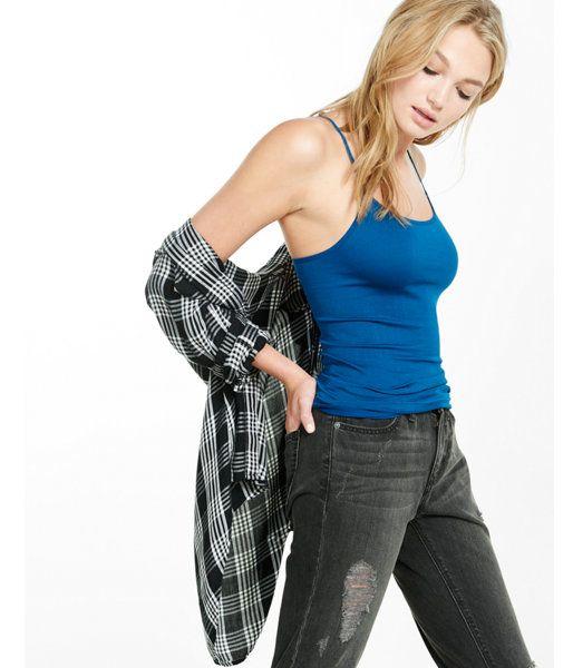 Rib Scoop Seamless Cami:soft Ivory:no Size Blue Women's Medium
