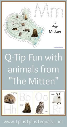 Q-Tip Painting Printables featuring animals from The Mitten from @{1plus1plus1} Carisa