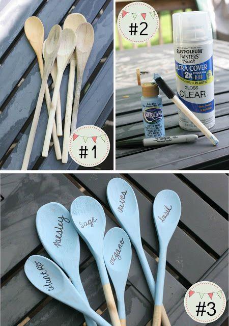 Wooden spoon garden markers: