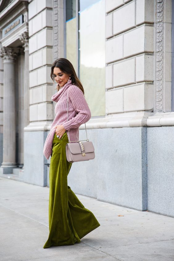 pink turtleneck sweater | how to style wide leg pants