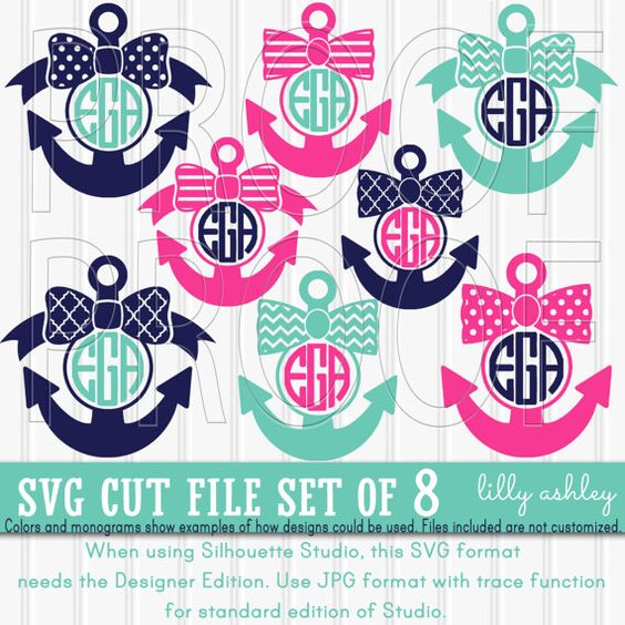 Anchor Bow Monogram SVG Cut File Set includes 8 cutting files by LillyAshley