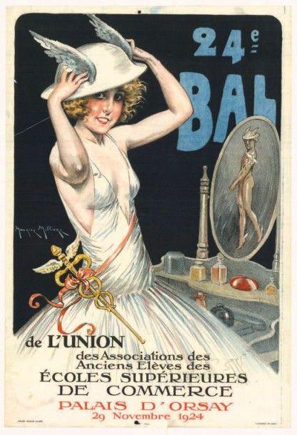 24ème bal de l'Union des associations des anciens élèves des écoles supérieures de commerce - Palais d'Orsay - Paris - 1924 - illustration de Maurice Milliere -