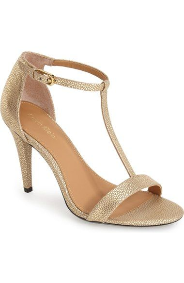 Nasi' Leather T-Strap Sandal (Women) - Dark Gold | Shoes- Basic ...