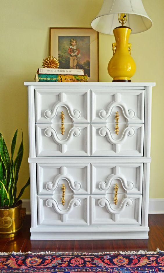stunning hollywood regency white dresser with stunning gold leaf hardware furnishings. Black Bedroom Furniture Sets. Home Design Ideas