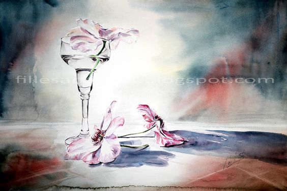 Stillleben mit Clematis und Blumenvase / Aquarell auf Fabriano 30x40cm