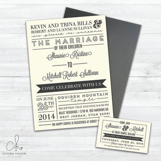 Cream and Gray Neutral Wedding Invitation  by ChynnaHansenDesigns