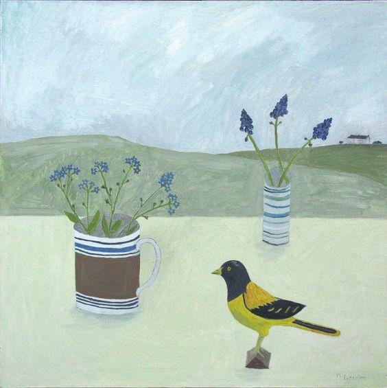 Debbie George.  A painting called Elizabeths wooden bird.  www.debbiegeorge.co.uk