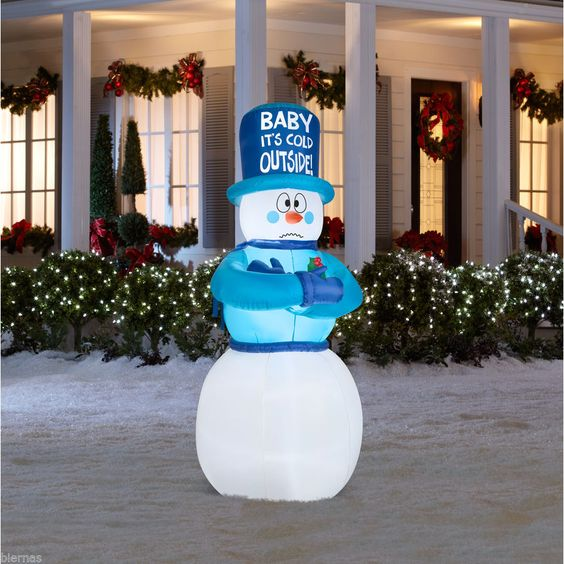 New 6 5 ft airblown lighted sivering snowman christmas for Airblown christmas decoration