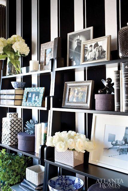 Kris Jenner Office. Love the wallpaper!