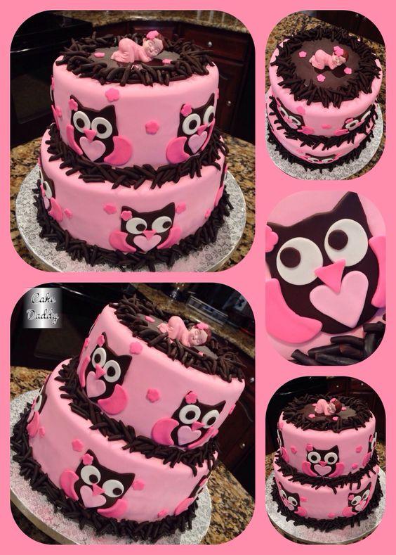 gteau shower de bb hiboux owl baby shower cake