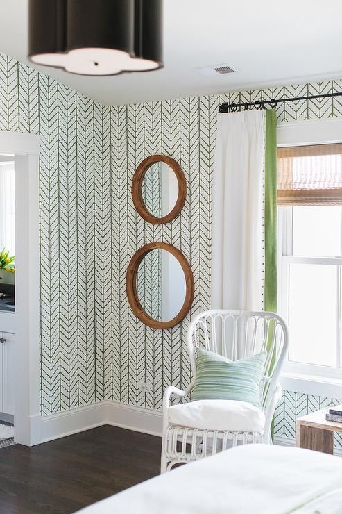 White And Green Curtains Hung From An Oil Rubbed Bronze Curtain