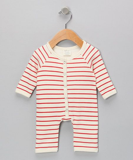Neutral White & Red Stripe Organic Playsuit