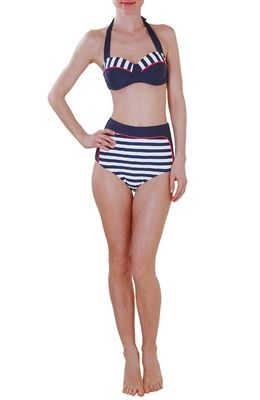 High Waisted Nautical Striped Swimsuit - $98.00