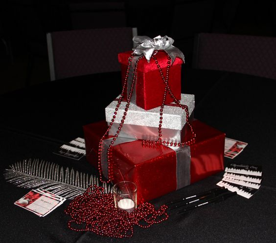 Red And Silver Party Decorations Table Decor For The