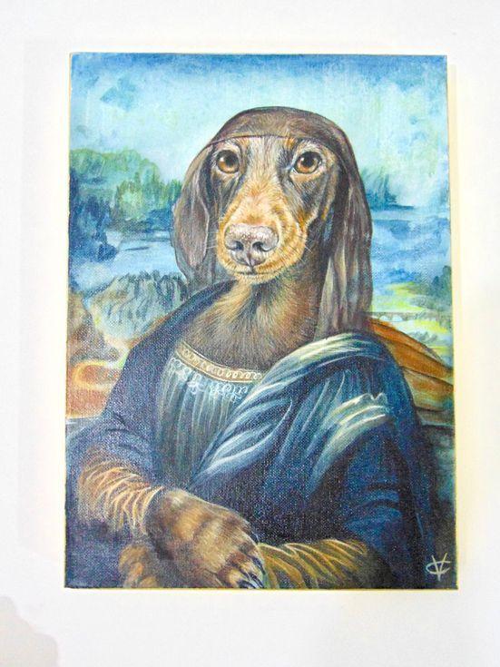 Buy Dog Painting Mona Dachshund Lisa Mixed Media Painting By