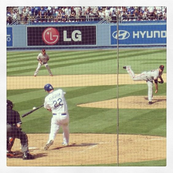 What a perfect shot of Clayton Kershaw before the bat connected for the HR. Ah-mazing! Credit Paola Garcia