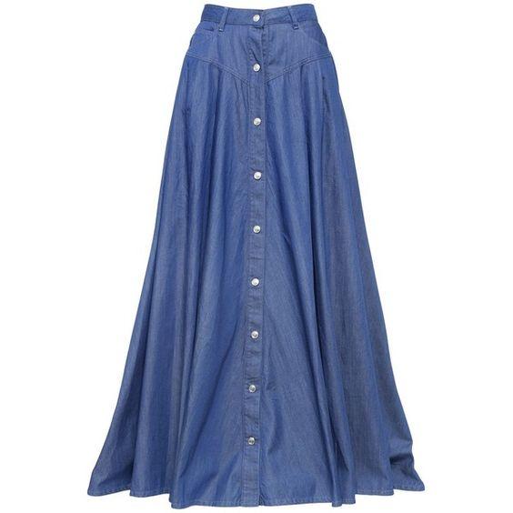 PIERRE BALMAIN Long Cotton Blend Denim Skirt (1 155 BGN) ❤ liked ...