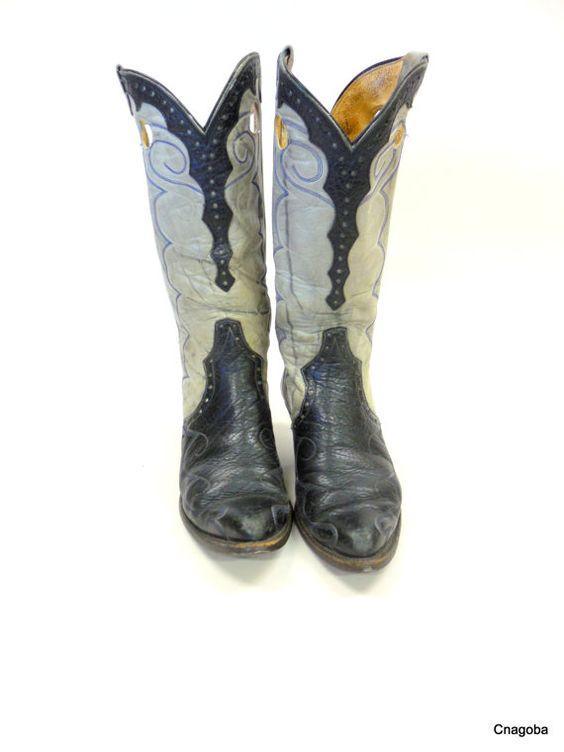 Vintage FANCY Cutout Western Cowboy Boots Tall by LotsaVintage, $350.00