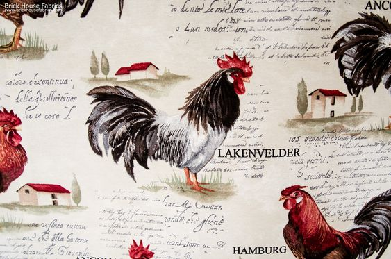 A rooster fabric with a slightly retro look. A country toile fabric with different European chicken breeds and document writing.: