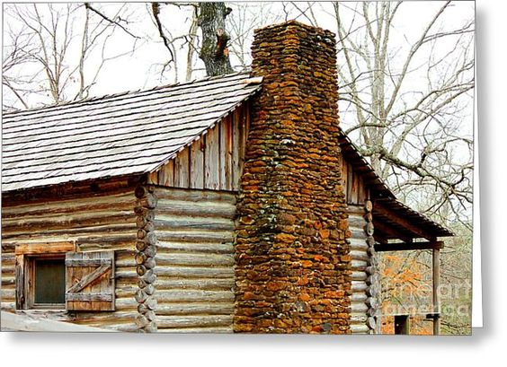 curtains for pioneer cabins | Pioneer Log Cabin Chimney Greeting ...
