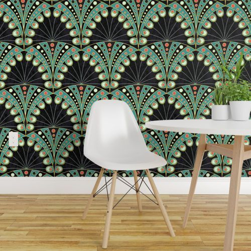 Art Deco Peacock Feathers Spoonflower In 2020 Decor Feather Wallpaper Removable Wallpaper