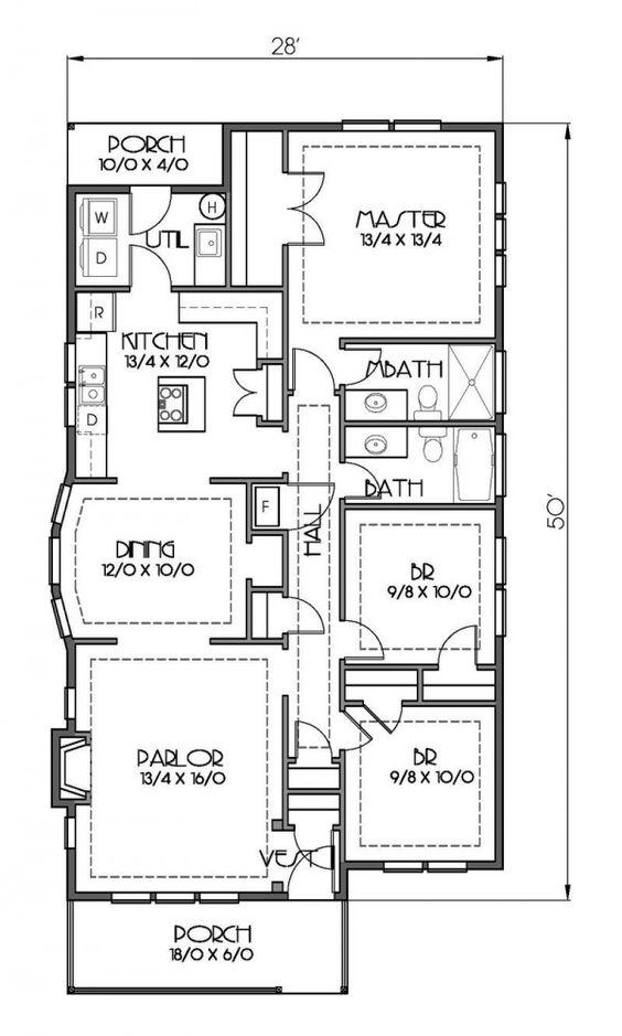 Plano de casa de una planta tres dormitorios y 127 metros - Distribucion casa alargada ...